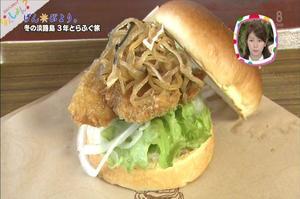 岡山放送 | なんしょん? | あわじ島 淡路島3年とらふぐバーガーが紹介されました。